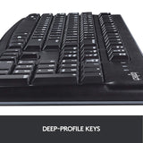 Logitech K120 Wired Business Keyboard for Windows or Linux, USB Plug-and-Play, Full-Size, Spill Resistant, Curved Space Bar, PC/Laptop, QWERTY UK Layout - Black