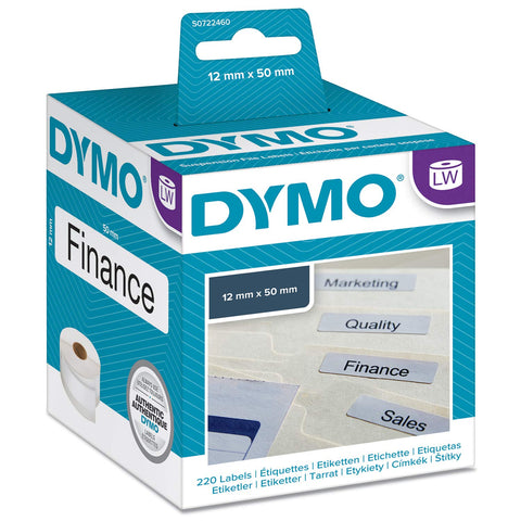 Dymo 12 mm x 50 mm LW Suspension File Labels, Roll of 220 Easy-Peel Labels, Self-Adhesive, for LabelWriter Label Makers, Authentic 12 x 50 mm