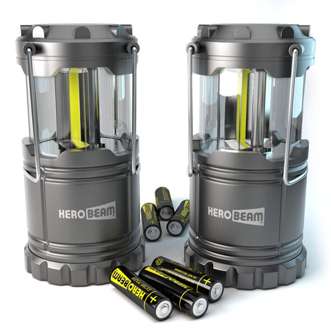 HeroBeam 2 x LED Lantern - THE ORIGINAL Collapsible Tough Lamp with Magnetic Base - Batteries Included - Great Light for Camping, Fishing, Shed, Festivals - UK COMPANY & 5 YEAR WARRANTY TWIN PACK