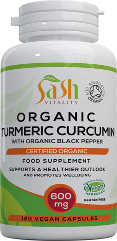 Sash Vitality Organic Turmeric Curcumin 1800mg Per Serving High Strength with Organic Black Pepper | Best Curcumin Absorption | 120 Vegan Capsules | Soil Association Certified Organic Non-GMO