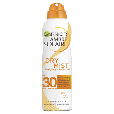 Garnier Ambre Solaire Dry Mist Fast Absorbing Sun Cream Spray SPF30, Non Greasy High Sun Protection SPF30, Easy To Use Mist Spray 200 ml