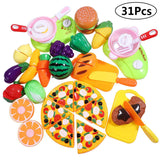 iBaseToy 31 PCS Play Food with Backbag, Cutting Fruit and Vegetables Role Play Food Toy Sets, Kitchen Pretend Toys for Kids Girls Boys Learning