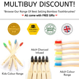 BAMBOOGALOO Premium Bamboo Toothbrushes - 5 Pack with Bamboo Cotton Buds & Dental Floss Gift. Organic Natural Wooden Toothbrush - Soft Charcoal Bristles. Eco-Friendly Plastic-Free Packaging, UK Design