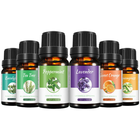 VicTsing Essential Oils Gift Set for Aromatherapy (10ml*6), 100% Pure Therapeutic Grade Highest Pack Scented Oils for Diffusers-Lavender, Lemongrass, Tea Tree, Eucalyptus, Sweet Orange, Peppermint 6 Pack