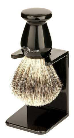 Edwin Jagger Best Badger Hair Shaving Brush with Drip Stand - Medium, Imitation Ebony