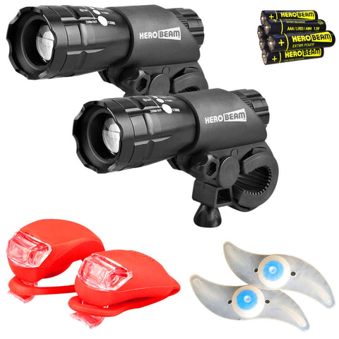 HeroBeam® Double Bike Lights Set - The Ultimate Lighting and Safety Pack of Super Bright Front Bicycle Lights, Tail Lights and Wheel Lights - INCLUDES ALL BATTERIES - UK COMPANY & 5 YEAR WARRANTY