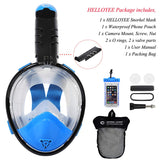HELLOYEE Upgraded Snorkel Mask 180° Panoramic View Breathe Free For Adults And Kids, Snorkeling Mask Full Face Anti-Fog Anti-Leak Design With Detachable Camera Mount Kids Foldable Blue-Black XS-For Kids