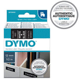 Dymo D1 Standard Labelling Tape 12mm x 7m - White on Black 1 Count