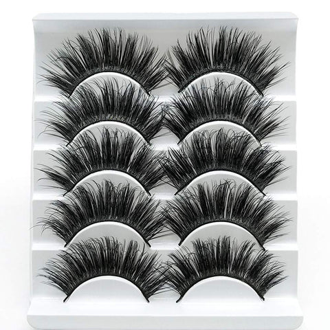 5 Pairs Faux 3D Mink Lashes Multipack,False Eyelashes Natural Soft False Eyelashes Pack for Makeup Eyelashes Extension(3D01) 3D-01