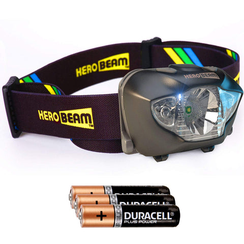 HeroBeam® LED Head Torch - Best Pocket-Sized Headlamp for Running, Dog Walking, Fishing, Biking, Camping, Watching Nature, Reading, Cycling or DIY - White/Red Lighting Modes - Lightweight, Comfortable and Weatherproof - includes DURACELL Batteries - UK...
