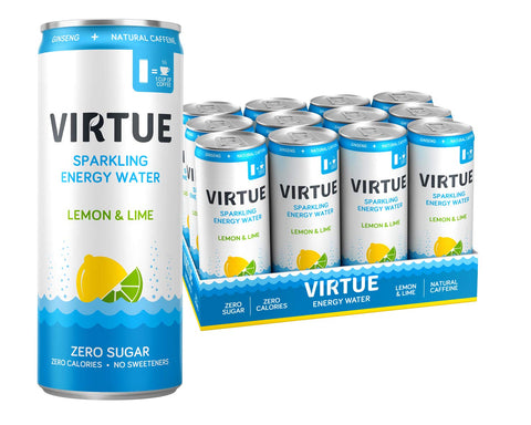 VIRTUE Energy Water - Healthy Energy Drink - Zero Sugar, Zero Calories (Lemon & Lime, 12 pack) Lemon & Lime