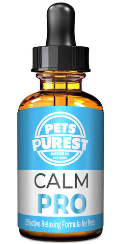 Pets Purest 100% Natural Calm PRO Calming Aid Supplement for Dogs Cats Horses Rabbits Birds Pets - Reduces Anxiety & Stress - Separation Anxiety, Aggression, Loud Noises, Fireworks & Kennels (50ml)