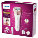 Philips Satinelle Prestige Epilator, Cordless, Wet and Dry Hair Removal, 9 Accessories Including Exfoliation Brush and Massager - BRE651/00
