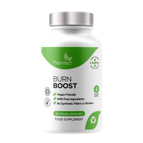 Pharmtect Burn Boost Supplement - for Energy Support - High Strength Green Tea, L-Carnitine Extracts - 60 Vegetarian Capsules Made UK