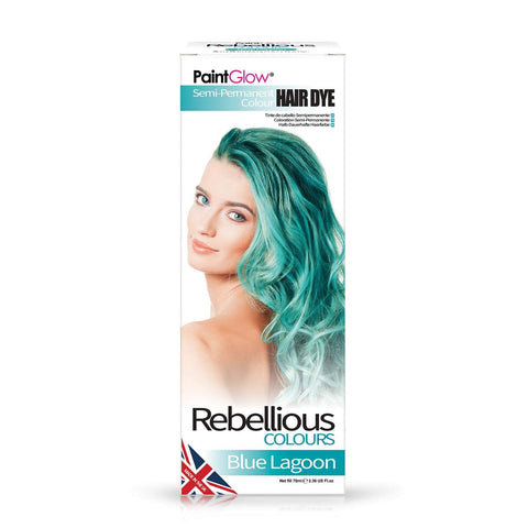 Rebellious Colours 100% Vegan Semi Permanent Hair Dye Colour 70ml (Blue Lagoon) Blue Lagoon