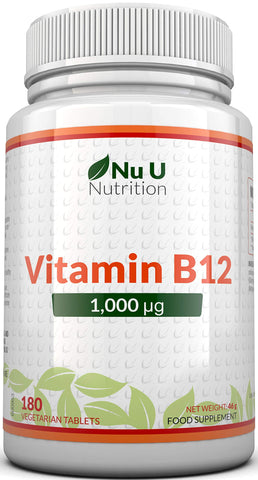 Vitamin B12 1000μg - High Strength B12 Methylcobalamin - 180 Vegetarian Tablets (6 Month Supply) - Made in The UK by Nu U Nutrition