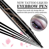 Eyebrow Pencil - Tattoo Eyebrow Pen with Fork Tip Long-lasting Waterproof Tatbrow Pen and Smudgeproof Brow Pen for Naturally Defined Eyebrows(Dark Brown) 1#dark brown