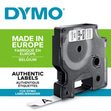 Dymo Authentic D1 Labels, Black Print on White Tape, 12mm x 7m, Self-Adhesive Labels for LabelManager & MobileLabeler Label Printers Black on White 1 Count