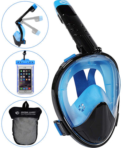 HELLOYEE Upgraded Snorkel Mask 180° Panoramic View Breathe Free For Adults And Kids, Snorkeling Mask Full Face Anti-Fog Anti-Leak Design With Detachable Camera Mount Foldable Black-Blue L-XL