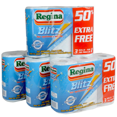 12 Regina Blitz Kitchen Towel Extra Large Roll 3ply Ply Super Absorbent Paper