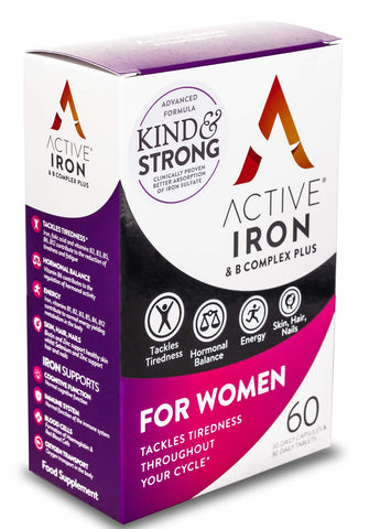 Active Iron & B-Complex Plus for Women 30 Iron Tablets & 30 Vitamin B Tablets | Iron Supplement with Vitamin B Complex Formula | Non-Constipating Absorption | Scientifically-Tested | 1-Month Supply