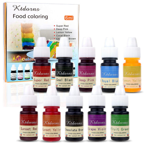 Food Colouring Food dye Flo Concentrated Liquid Food Air Brush - 10 Colours (6ml) 6 ml (Pack of 10)