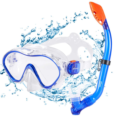 Kuyou Snorkel Set Kids,Dry Snorkeling Set Anti-Fog Snorkel Mask Impact Resistant Panoramic Tempered Glass Easy Breathing and for Youth Junior Girls,Boys Blue