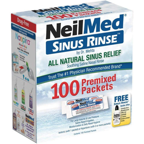 NeilMed Sinus Rinse Premixed Packets, 100 Count