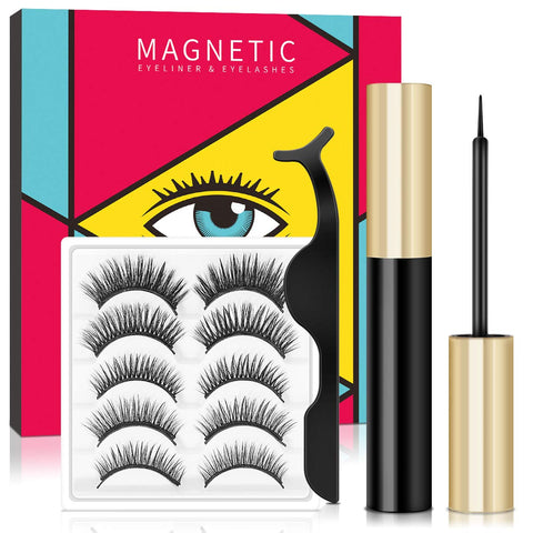 Magnetic Eyeliner and Lashes Kit, Upgraded Waterproof Magnetic Eyeliner, Reusable 3D False Eyelashes, 5 Styles Soft Eyelashes with Professional Tweezers, Long Lasting & Natural Look