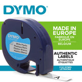 Dymo LetraTag Plastic Label Tape, 12 mm x 4 m Roll, White Black on White