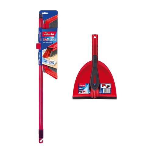 Vileda DuActiva 2-in-1 Anti-Dust Broom Plus Dustpan Set Dustpan & Broom Set Single