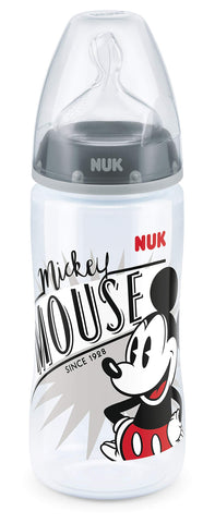 NUK Disney Mickey Mouse First Choice+ Baby Bottle, 6-18 Months, 300ml, Black (designs may vary)