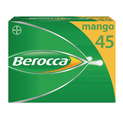 Berocca Energy Vitamin Tablets Mango Flavour, High Dose of Vitamin B Complex, Vitamin B12, Also Contains Vitamin C and Magnesium, 45 Tablets - 6 Weeks Supply