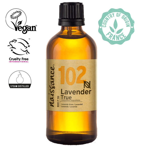 Naissance True Lavender Essential Oil (#102) 100ml - Pure, Natural, Cruelty Free, Vegan, Steam Distilled and Undiluted - To use in Aromatherapy & Diffusers