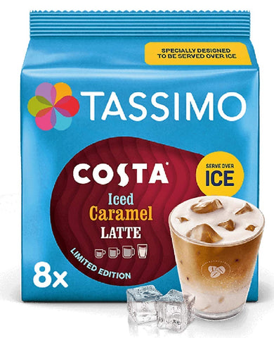 Tassimo Costa Iced Caramel Latte Coffee Pods 8 servings (Pack of 5, Total 80 pods, 40 servings)