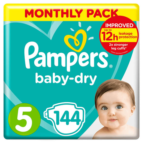 Pampers Baby-Dry, 144 Nappies, 11-16 kg, Monthly Saving Pack, Air Channels for Breathable Dryness Overnight, Size 5