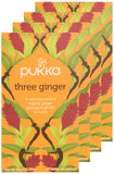 Pukka Three Ginger, Organic Herbal Tea with Galangal & Turmeric (4 Pack, 80 Tea bags)