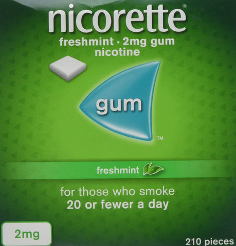 Nicorette Fresh Mint Chewing Gum, 2 mg, 210 Pieces (Stop Smoking Aid) 2 mg - Pack of 210 Gums