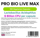 Lindens Pro Bio Live Max 6 Billion Cfu High Strength (+ Prebiotic) Capsules | 100 Pack | High Potency Lactobacillus Acidophilus Supporting Digestion