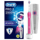 Oral-B Pro 2 2500 3D White Electric Rechargeable Toothbrush, Pink Handle, 2 Modes: Daily Clean and Sensitive, Gum Pressure Sensor, 1 Toothbrush Head, 1 Travel Case, 2 Pin UK Plug