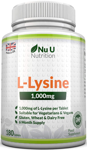 L-Lysine 1000mg | 180 Tablets (6 Month Supply) | Vegetarian and Vegan L lysine 1000mg by Nu U Nutrition