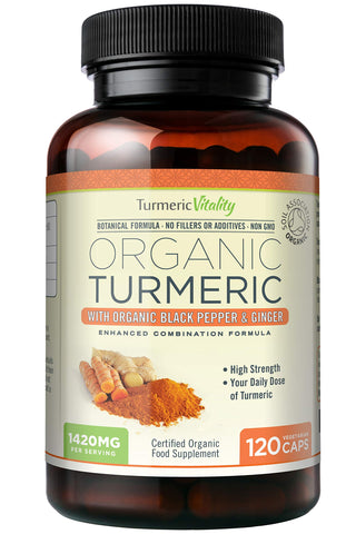 Turmeric Vitality Organic Turmeric Curcumin Capsules 1420mg High Strength Serving with Black Pepper & Ginger for Maximum Absorption of Curcumin | 120 Veg Capsules - Certified Organic Supplement