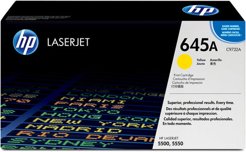HP C9732A 645A Original LaserJet Toner Cartridge, Yellow, Single Pack