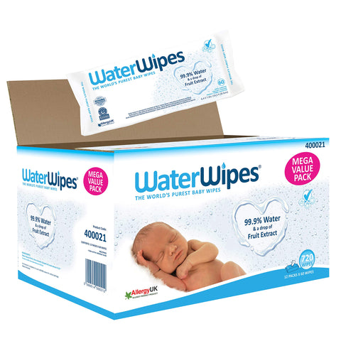 WaterWipes Baby Wipes Sensitive Newborn Skin, 720 Wipes 12 Packs (720 Wipes)