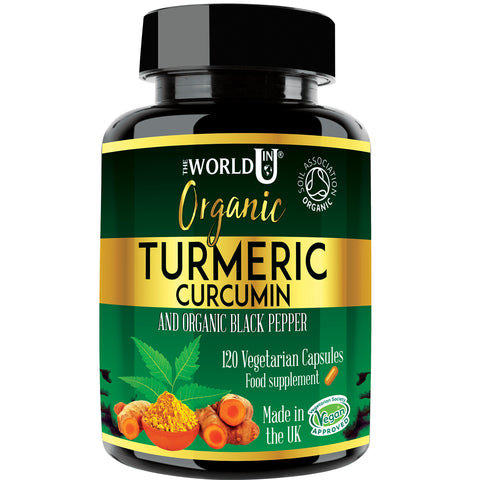 Ultra Pure Organic Turmeric Curcumin and Organic Black Pepper Capsules High Strength Food Supplement 120 Veg Capsules Soil Association Organic Certified and Vegetarian Society Approved - Made in UK