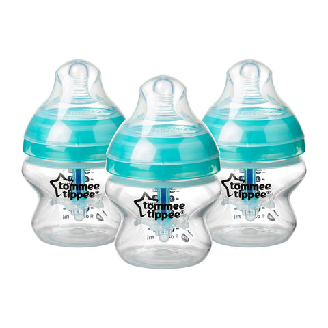 Tommee Tippee Advanced Anti-Colic Baby Bottles, 150 ml, 3 count Pack of 3 Clear