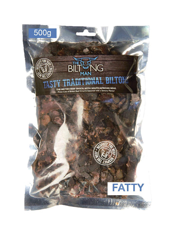 500g Biltong Fatty, Tasty Traditional Biltong Beef, High Protein South African Snack, Gluten Free, Low Carb Diet friendly, made with Traditional Biltong Spice. Natural Protein Snack by The Biltong Man