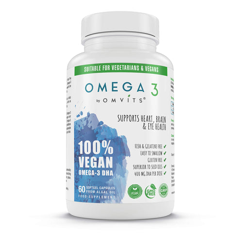 Vegan Omega 3 DHA Supplement from Algae Oil - 60 Capsules with Vitamin E - Sustainable Algal Alternative to Fish Oil - Vegetarian Essential Fatty Acids - Supports Heart, Brain & Eye Health