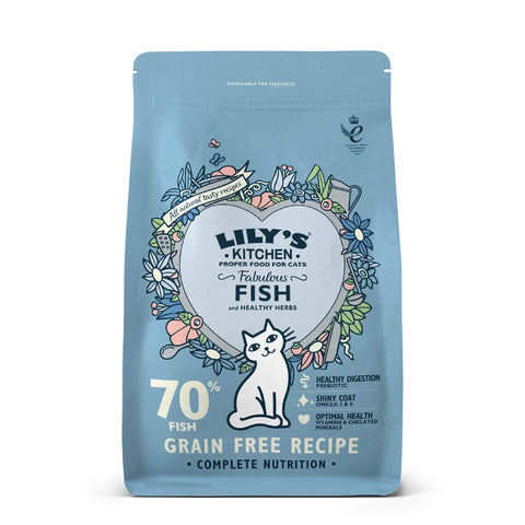Lily's Kitchen Fabulous Fish Complete Natural Dry Food for Cats, 2 kg Adult