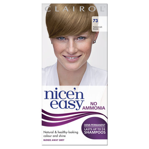 Clairol Nice'n Easy Demi-Permanent Hair Dye No Ammonia, 73 Medium Ash Blonde 73 Ash Blonde
